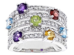 Multi-Gemstone Rhodium Over Sterling Silver Ring 2.75ctw