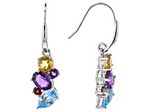 Multi-Gemstone Rhodium Over Sterling Silver Dangle Earrings