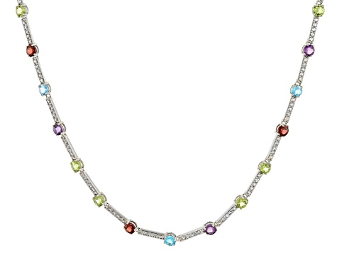 925 Silver Necklace Gorgeous Multi Stone Tennis Necklace For Her Multi Gemstone Tennis Necklace in Platinum Over Sterling Silver