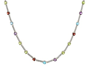 Multi-Gemstone Rhodium Over Sterling Silver Tennis Necklace 16.40ctw