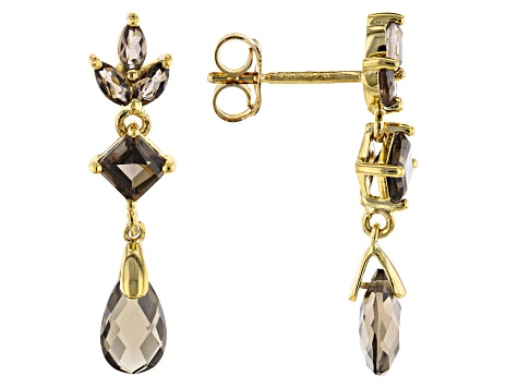 Smoky Quartz 14K Gold Over Sterling Silver Earrings 4.75ctw
