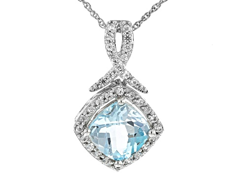 Sky Blue Topaz Rhodium Over Sterling Silver Pennant With Chain 3.03ctw