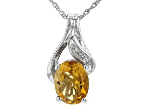 Yellow Citrine Rhodium Over Sterling Silver Pendant With Chain 1.76ctw