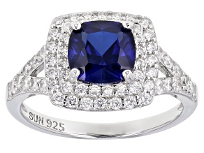 Blue Lab Created Sapphire Rhodium Over Sterling Silver Ring 2.49ctw