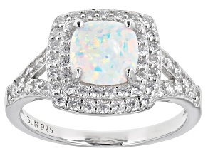 White Lab Created Opal Rhodium Over Sterling Silver Ring 1.33ctw