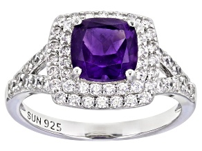 Purple Amethyst Rhodium Over Sterling Silver Ring 2.19ctw