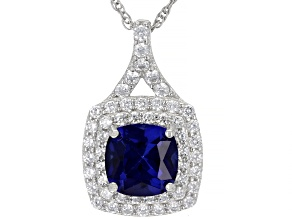Blue Lab Created Sapphire Rhodium Over Sterling Silver Pendant With Chain 2.30ctw