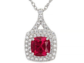 Red Lab Created Ruby Rhodium Over Sterling Silver Pendant With Chain 2.30ctw