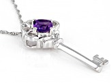 Purple Amethyst Rhodium Over Sterling Silver Key Pendant With Chain 0.46
