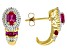 Red Lab Created Ruby 14k Yellow Gold Over Sterling Silver Earrings 1.33ctw