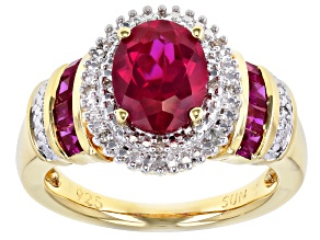 Red Lab Created Ruby 14k Yellow Gold Over Sterling Silver Ring 2.43ctw