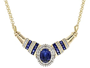 Blue Lab Created Sapphire 18K Yellow Gold Over Sterling Silver Necklace. 2.52ctw