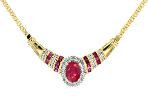 Red Lab Created Ruby 14k Yellow Gold Over Sterling Silver Necklace 2.58ctw