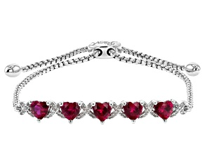 Red Lab Created Ruby Rhodium Over Sterling Silver Bolo Bracelet 2.83ctw