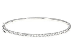White Lab Created Sapphire Rhodium Over Sterling Silver Bangle Bracelet 2.25ctw