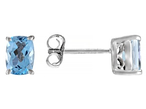 Swarovski Blue Topaz Rhodium Over Sterling Silver Earrings 2.30ctw