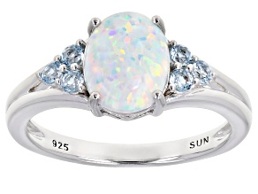 White Lab Created Opal Rhodium Over Sterling Silver Ring 1.22ctw