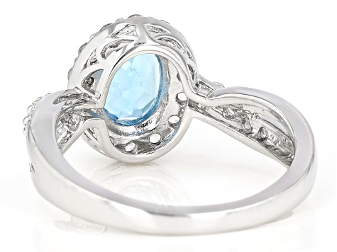 Swiss Blue Topaz Rhodium Over Sterling Silver Ring 1.99ctw