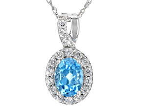 Swiss Blue Topaz Rhodium Over Sterling Silver Pendant With chain 1.85ctw
