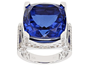 Tanzanite Color Quartz Rhodium Over Sterling Silver Ring 10.75ctw