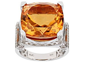 Spessartite Color Quartz Rhodium Over Sterling Silver Ring 10.75ctw