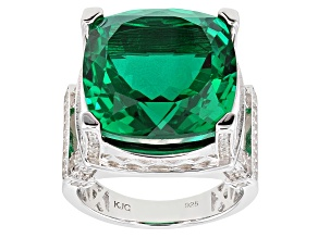 Emerald Color Quartz Sterling Silver Ring 10.75ctw