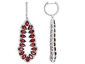 Garnet Rhodium Over Sterling Silver Dangle Earrings 13.75ctw
