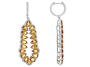 Citrine Rhodium Over Sterling Silver Earrings 10.75ctw