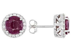 Ruby Rhodium Over Sterling Silver Stud Earrings 4.15ctw