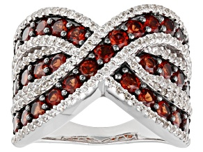 Garnet Rhodium Over Sterling Silver Ring 2.55ctw