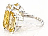 Yellow Citrine Rhodium Over Sterling Silver Ring 16.88ctw