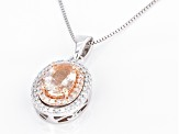 Pink Morganite 10K White Gold Pendant With Chain 0.94ctw