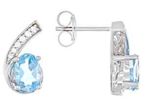 Swiss Blue Topaz 10K White Gold Earrings 2.30ctw