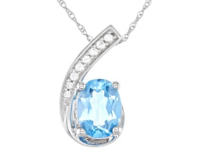 Swiss Blue Topaz 10K White Gold Pendant 1.37ctw