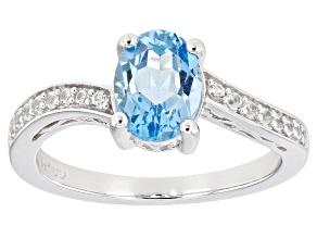 Swiss Blue Topaz Rhodium Over 10K White Gold Ring 1.63ctw