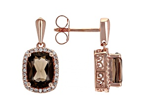 Smoky Quartz 10K Rose Gold Earrings 3.60ctw