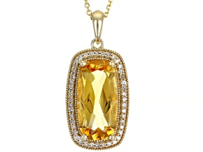 Citrine 10K Yellow Gold Pendant With Chain 5.70ctw