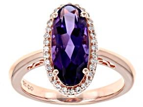 Amethyst 10K Rose Gold Ring 3.6ctw
