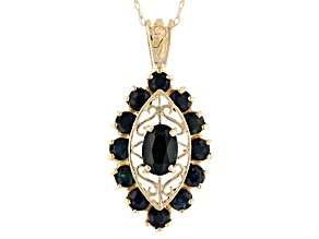 Blue Sapphire 10k Yellow Gold Pendant With 18