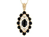 "Blue Sapphire 10k Yellow Gold Pendant With 18"" Chain 2.60ctw"