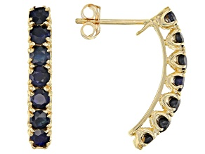 Blue Sapphire 10k Yellow Gold Stud Earrings 1.55ctw