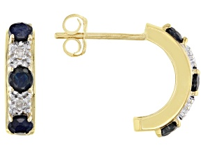 Blue Sapphire And White Diamond Accent 10k Yellow Gold J-Hoop Earrings 0.45ctw