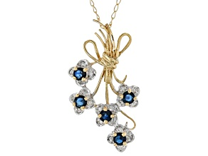 Blue Sapphire And White Diamond 10k Yellow Gold Floral Pendant With 18