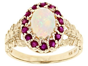 Opal And Ruby 10k Yellow Gold Ring 0.50ctw