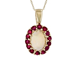 Opal And Ruby 10k Yellow Gold Pendant With 18