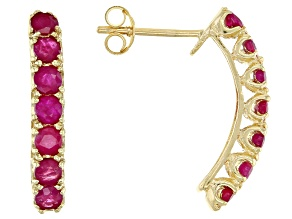 Red Ruby 10k Yellow Gold Stud Earrings 1.70ctw