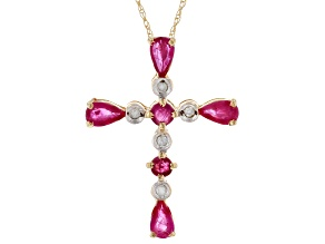 Red Ruby And White Diamond 10k Yellow Gold Cross Pendant With 18
