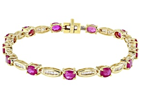 Ruby And White Diamond 14k Yellow Gold Bracelet 4.75ctw