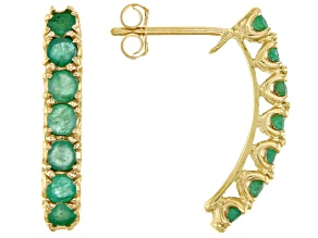 Green Emerald 10k Yellow Gold Stud Earrings 1.10ctw