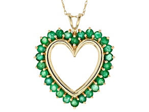 Green Emerald 10k Yellow Gold Heart Pendant With 18